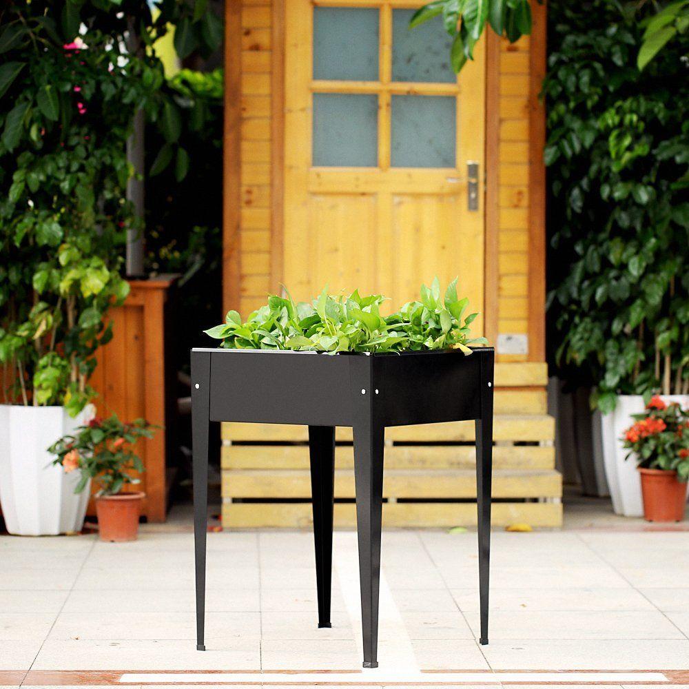 Amazon.com : IKayaa Patio Elevated Planter Box Raised Garden Bed Metal  Vertical Vegetable Herb