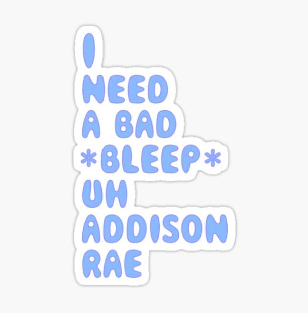 Addison Rae Blue Sticker Designed by emilyaa1323 in 2020