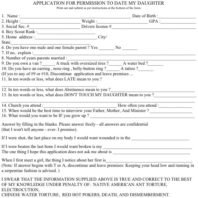 Application To Date My Daughter  Lulz    Humor