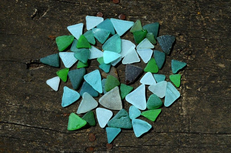Photo of Triangle sea glass 59pcs Authentic beach glass for craft Sea