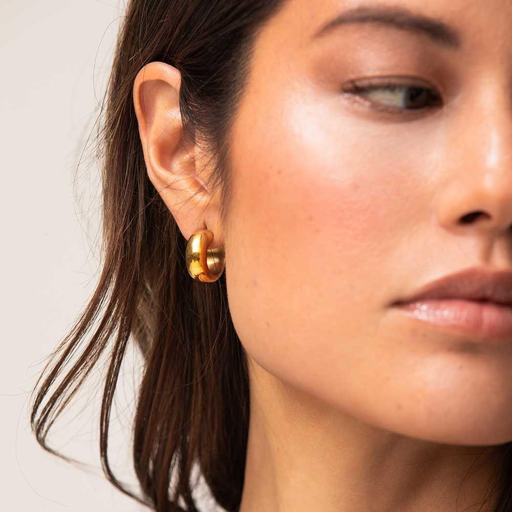 Hand-Hammered Brass Diamond-Shaped Hoop Earrings,KENYA