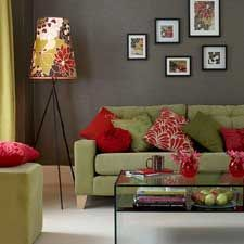 I D This Green And Red Floral Pattern Living Room Green