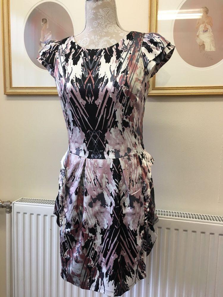 Black Pink And Grey Sexy Lipsy Dress Size 10 Fashion Clothing
