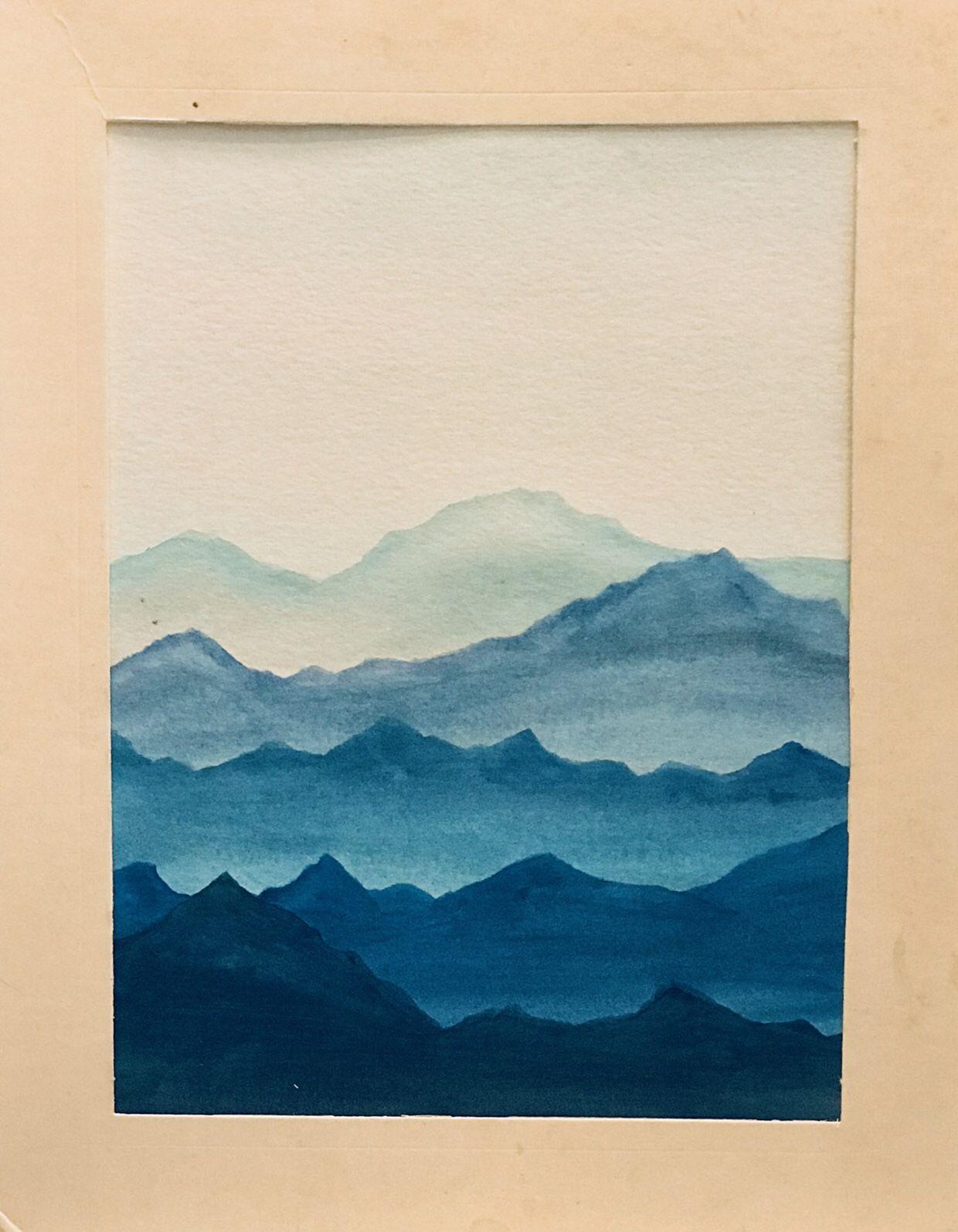 Easy Watercolor Mountain Scene – Sweet Home Adventures #easywatercolorpaintings