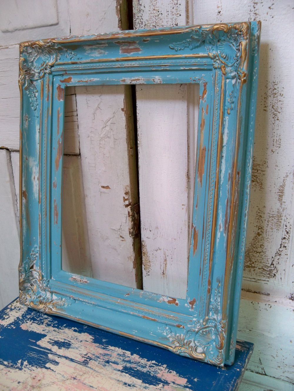 Distressed Wood Wall Decor large heavy wood frame beachy blue distressed shabby chic wall