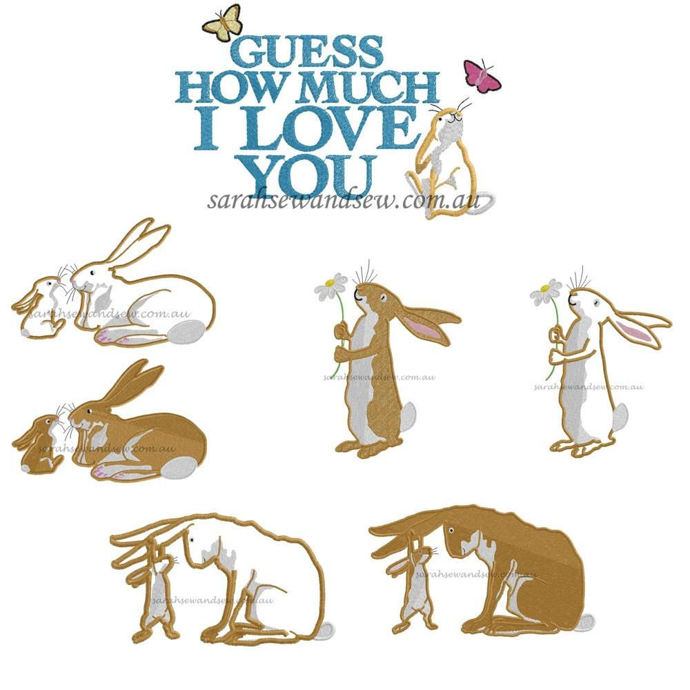 Guess how much i love you embroidery design set 2 flower