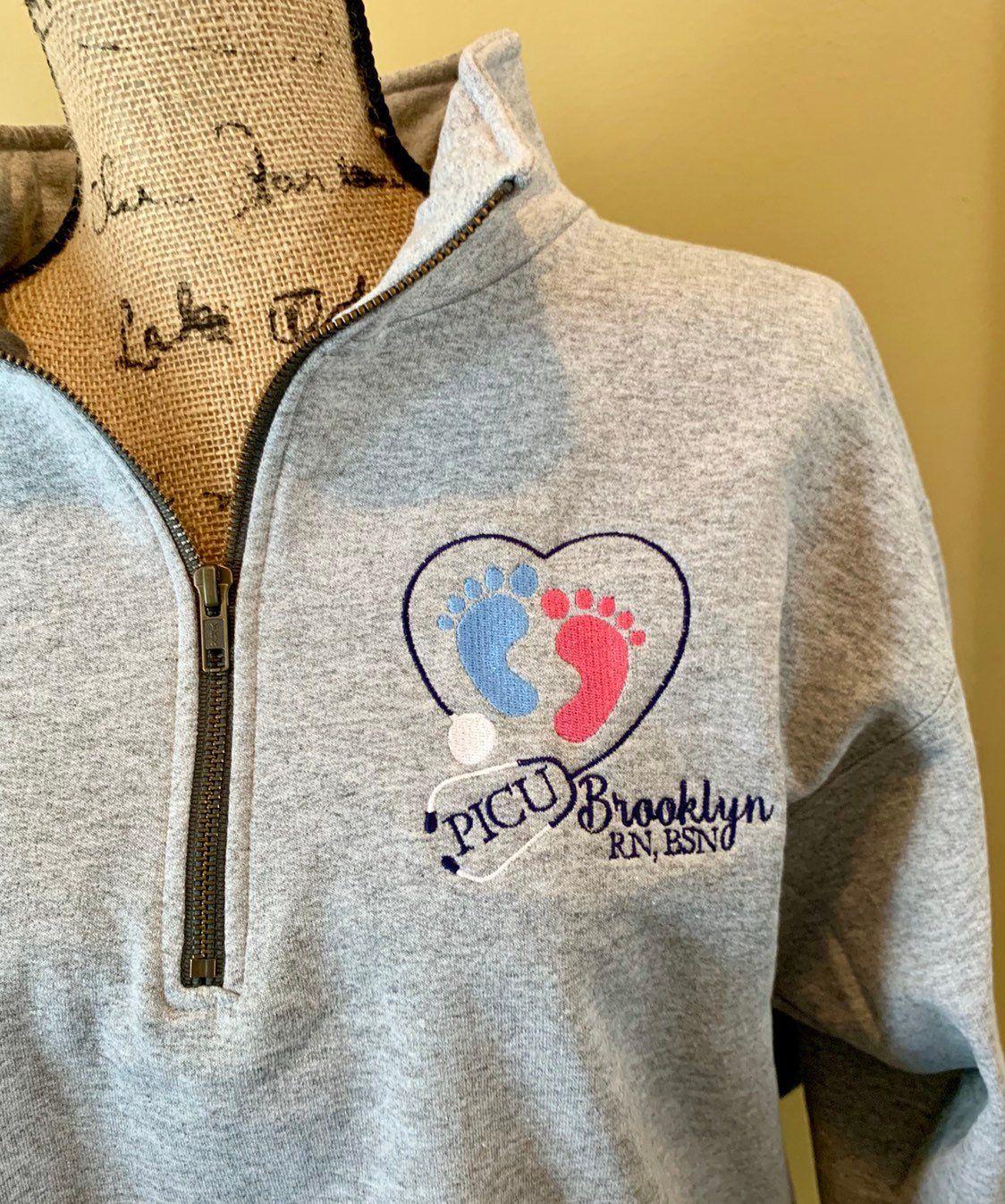 312e3288 PICU nurse gift, NICU nurse shirt, monogrammed, gift for nurse, gift for  nursing school, nurse graduation gift, sweatshirt pullover 1/4 zip by ...
