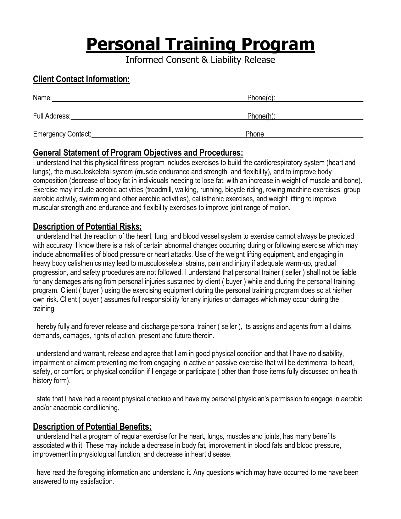 informed consent form personal training Google Search – Release of Personal Information Form