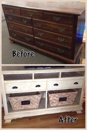 Dresser Turned Into Tv Stand Only With A Different Finnish Think We Are Going To Do This With Gma Drezzer Sharonhenninger By Trendy N Styles