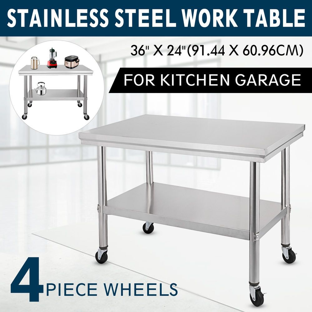 36x24 Stainless Steel Work Table Casters Undershelf Adjustable Food Prep Tables Ebay Link Kitchen Work Tables Stainless Steel Work Table Work Table