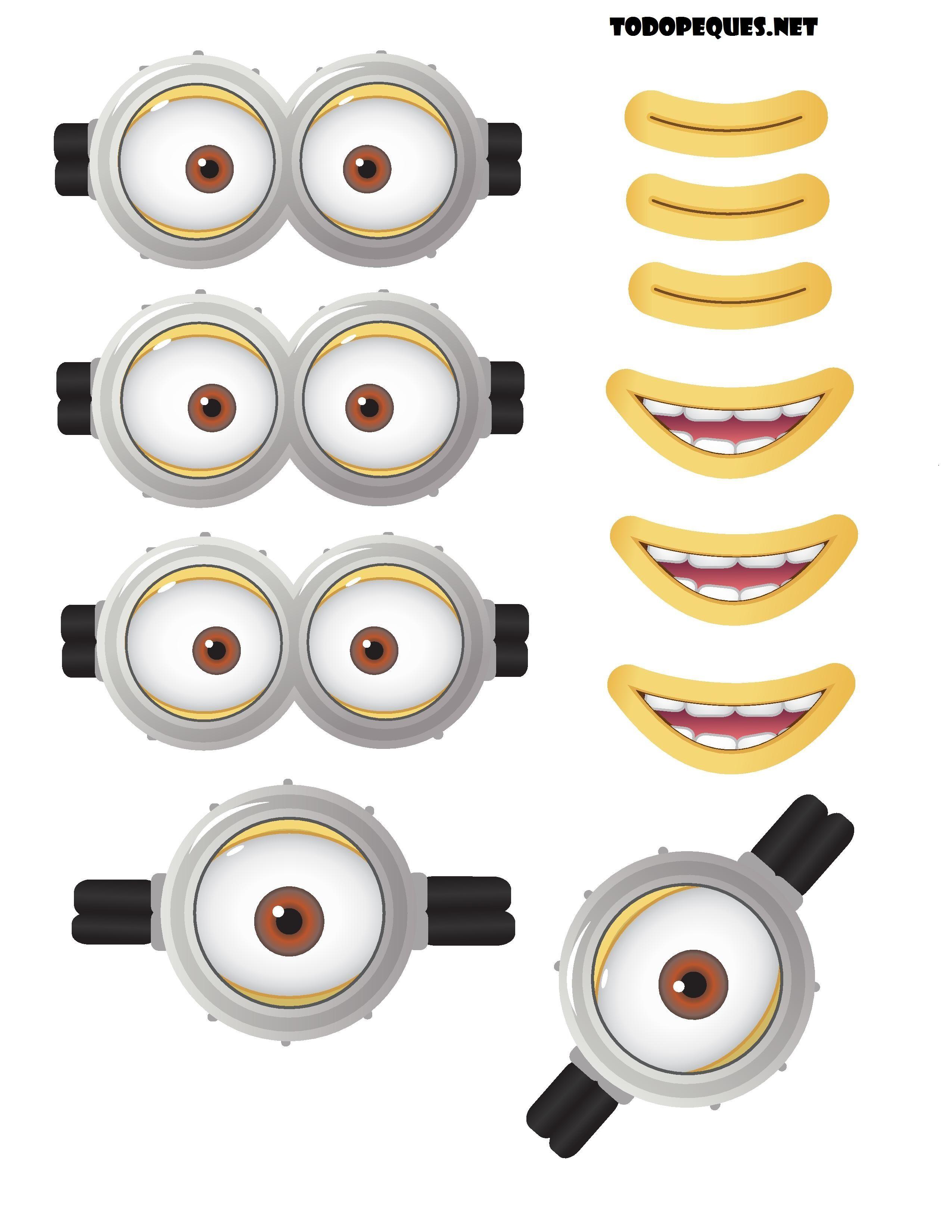 Moldes de ojos y bocas de Minions para imprimir gratis | escuela ...