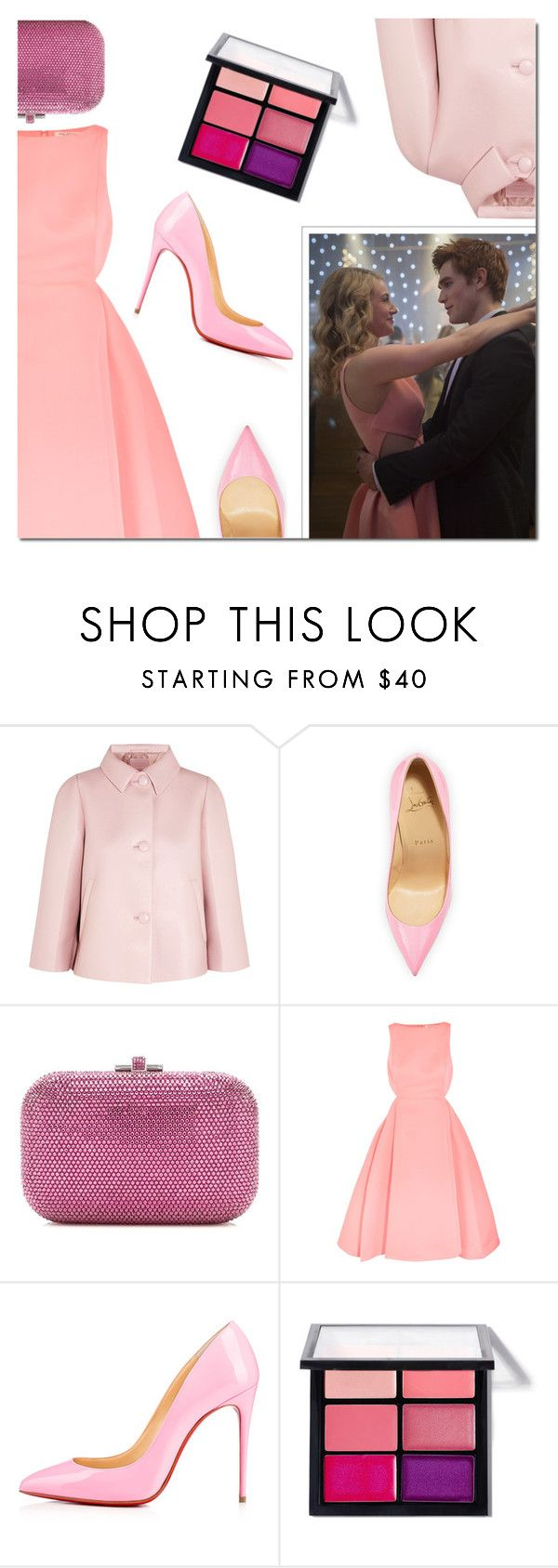 """""""Riverdale: Betty Cooper"""" by danielle-487 ❤ liked on Polyvore featuring Prada, Christian Louboutin, Judith Leiber, Halston Heritage and MAC Cosmetics"""