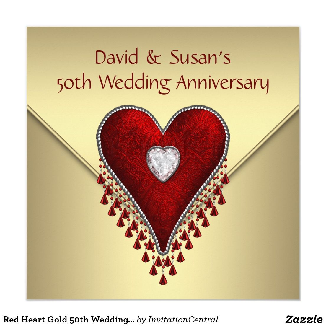 Red Heart Gold 50th Wedding Anniversary Party Invitation | Pinterest ...