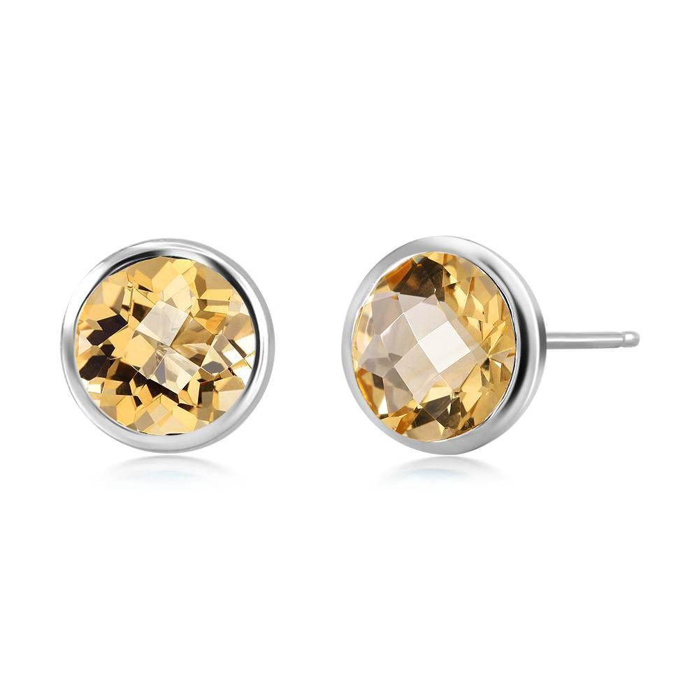 Yellow Topaz Bezel Stud Earring Weighing Four Carat