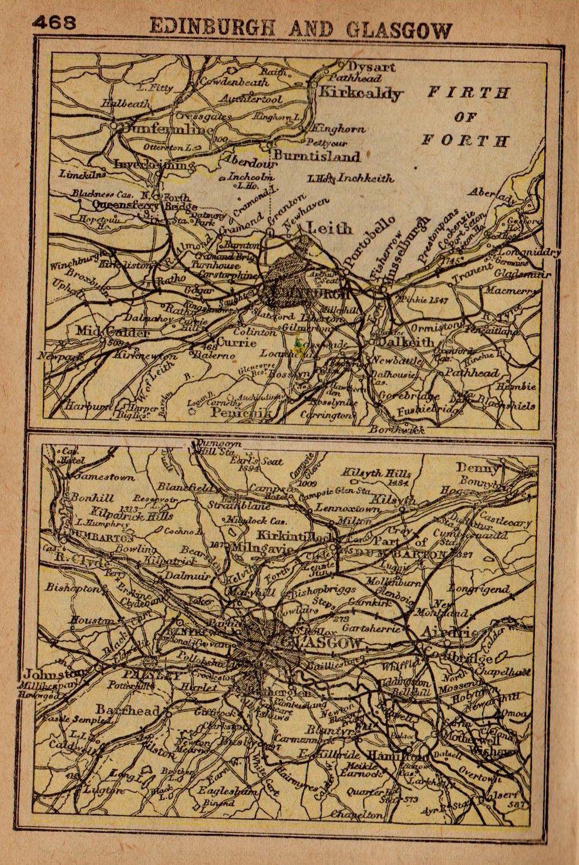 1902 Rare EDINBURGH Map of Edinburgh Scotland Glasgow Scotland Map ...