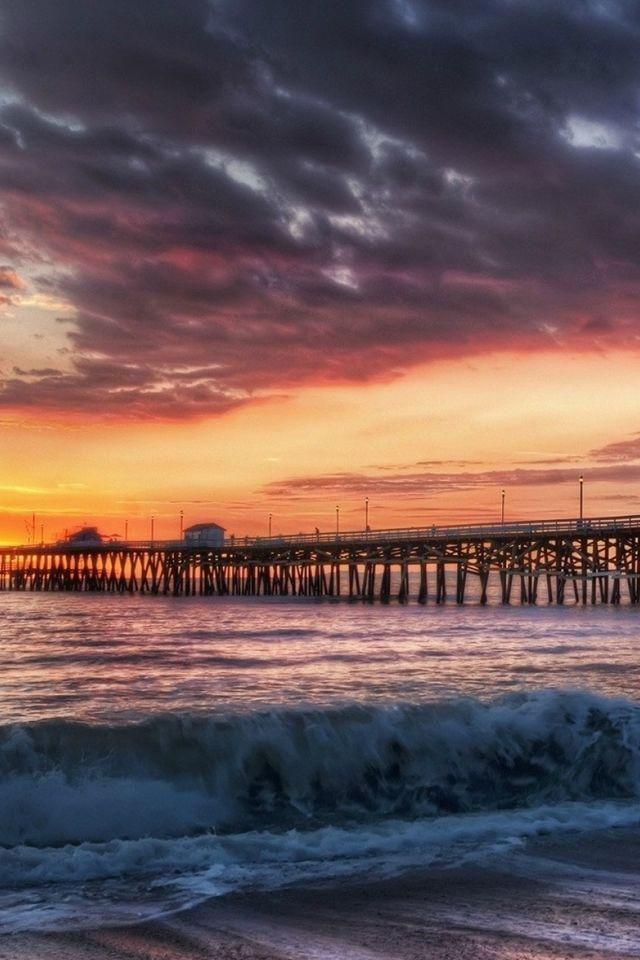 california beach dock sunset iphone 4s wallpaper iphone 4 s