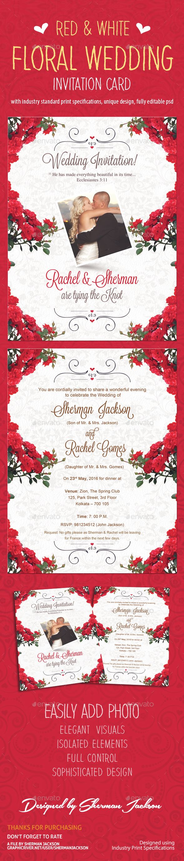 Red & White Floral Wedding Invitation | Floral wedding, Graphics and ...