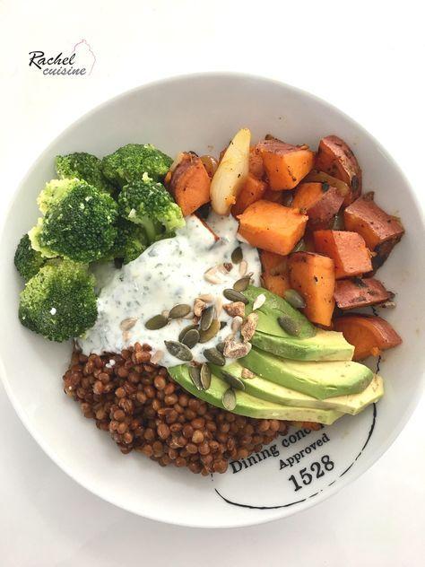 Assiette complète : lentilles, patate douce, brocolis et avocat