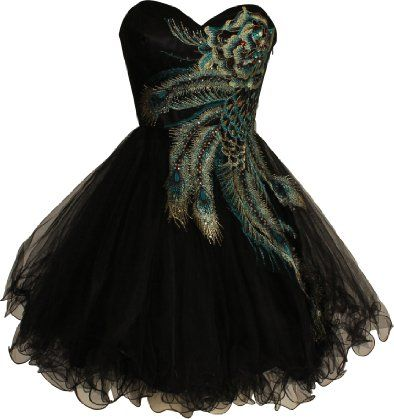 Peacock Black Short Formal Dresses for Teenagers