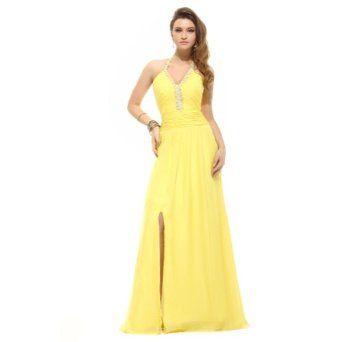 Sunvary Elegant Halter Neckline Front Split Applique Long Chiffon Evening Dresses Prom Gowns,