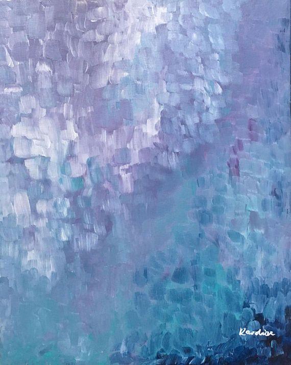 Abstrakte Malerei Fish Scale Acryl Auf Leinwand Blau Mint