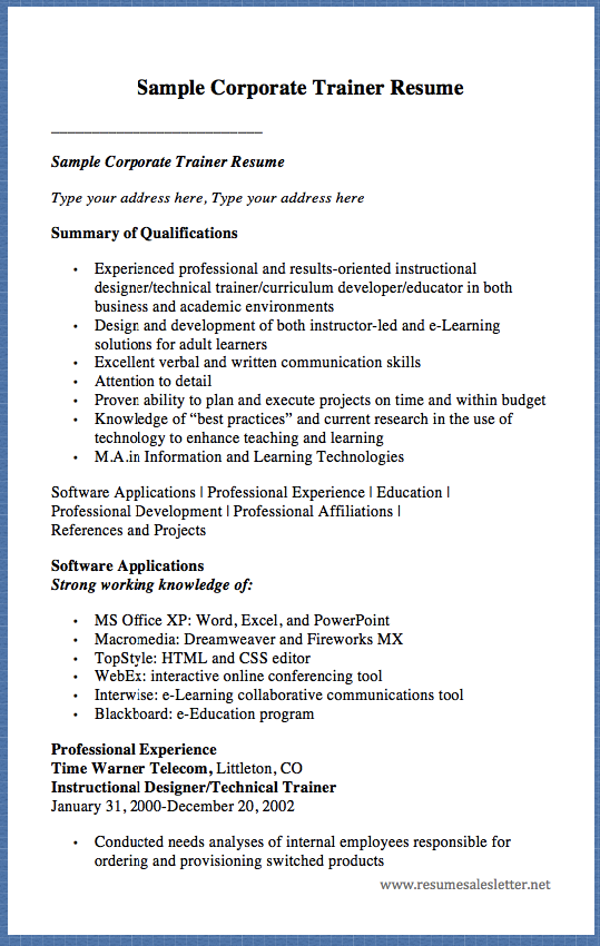 sample corporate trainer resume sample corporate trainer resume type