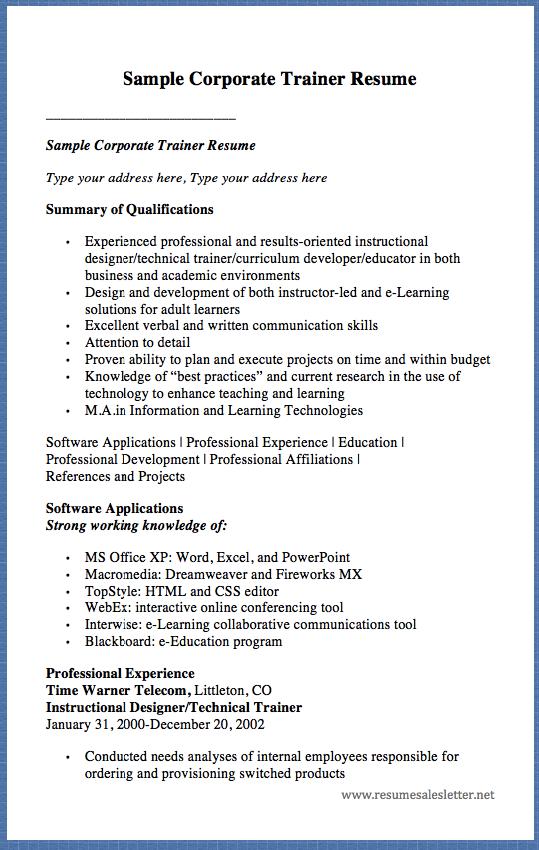 Sample Corporate Trainer Resume Sample Corporate Trainer Resume Instructional Design Resume Template Examples Curriculum Development