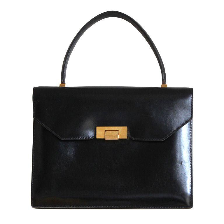 0fd28bf203a 1960 s HERMES black box leather top handle bag