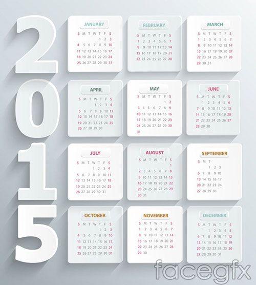 15 Free 2015 Vector Calendar Design Templates Vector Freebies
