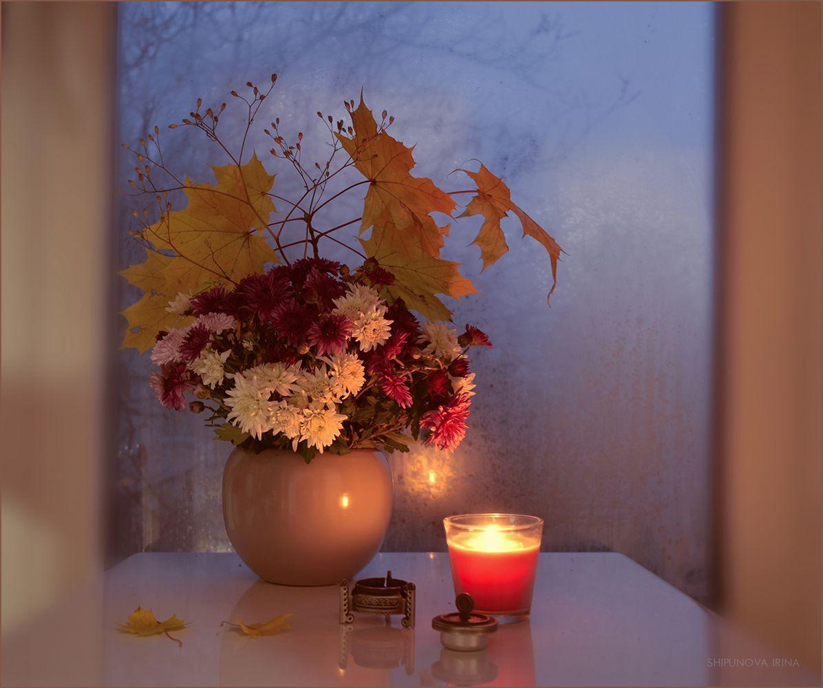 Кружки, открытки осенние листья добрый вечер