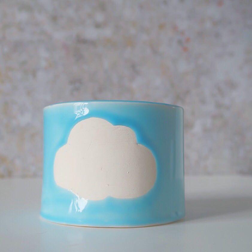 @blackdogpottery.uk cloud plant pot #pottery #ceramics #handmade #plantpot