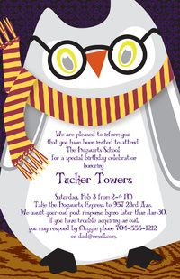 Harry Potter Party Invitations Hedwig Owl Invitation C50