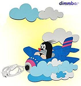 Pilotenzimmer 3 D Wandlampe Led Dimmbar Aus Holz Der Kleine Maulwurf Im Flugzeug Lampe Mit Schalter Fur Kinder Led Dimmbar Kinder Lampen Kinderzimmer