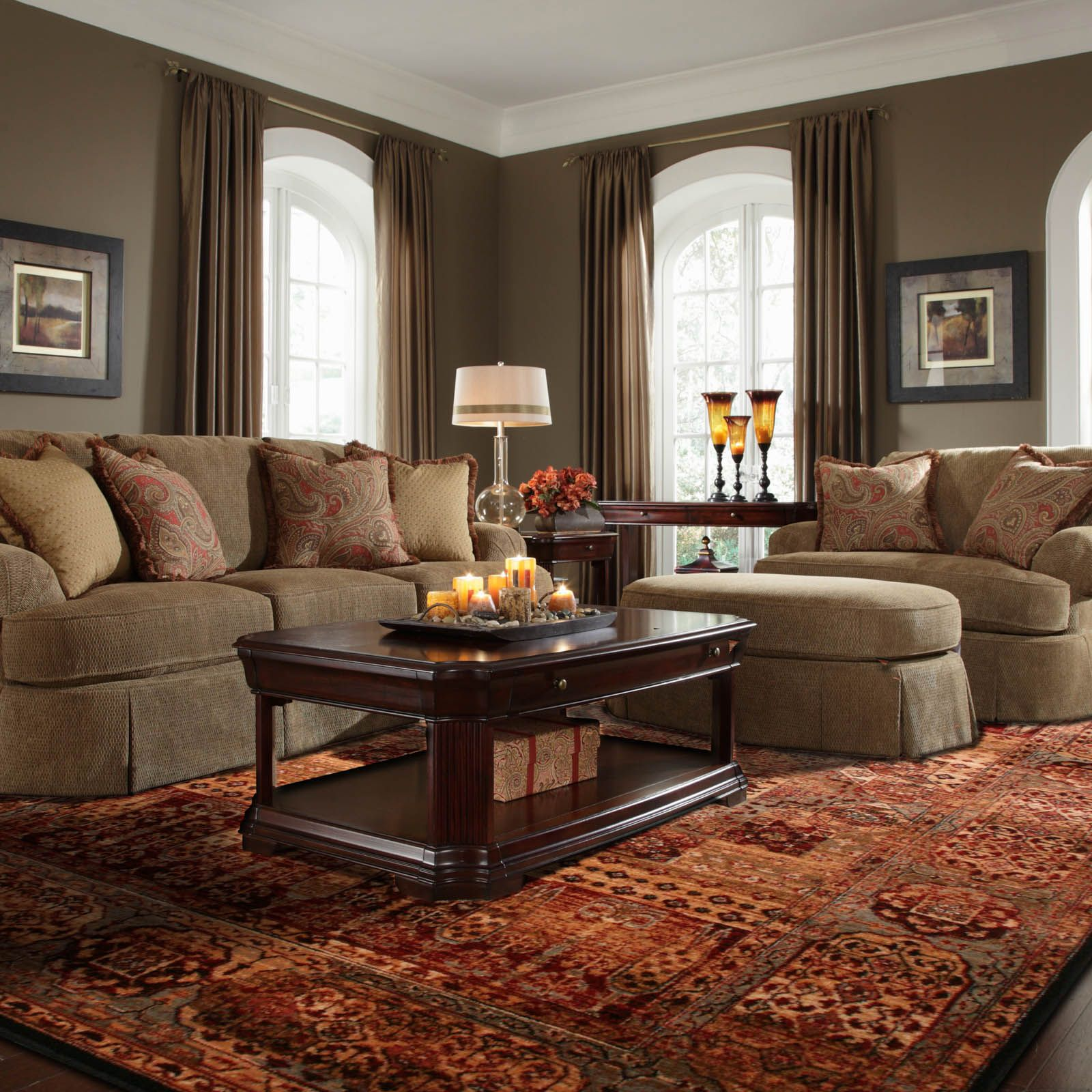 Unique Living Room Furniture Sets: A Unique Medallion Design With Intricate Detailing In Warm