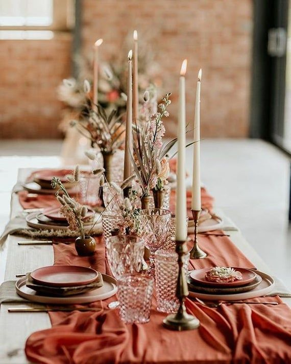 Terracotta gauze runner Rustic wedding table runner Boho table runner