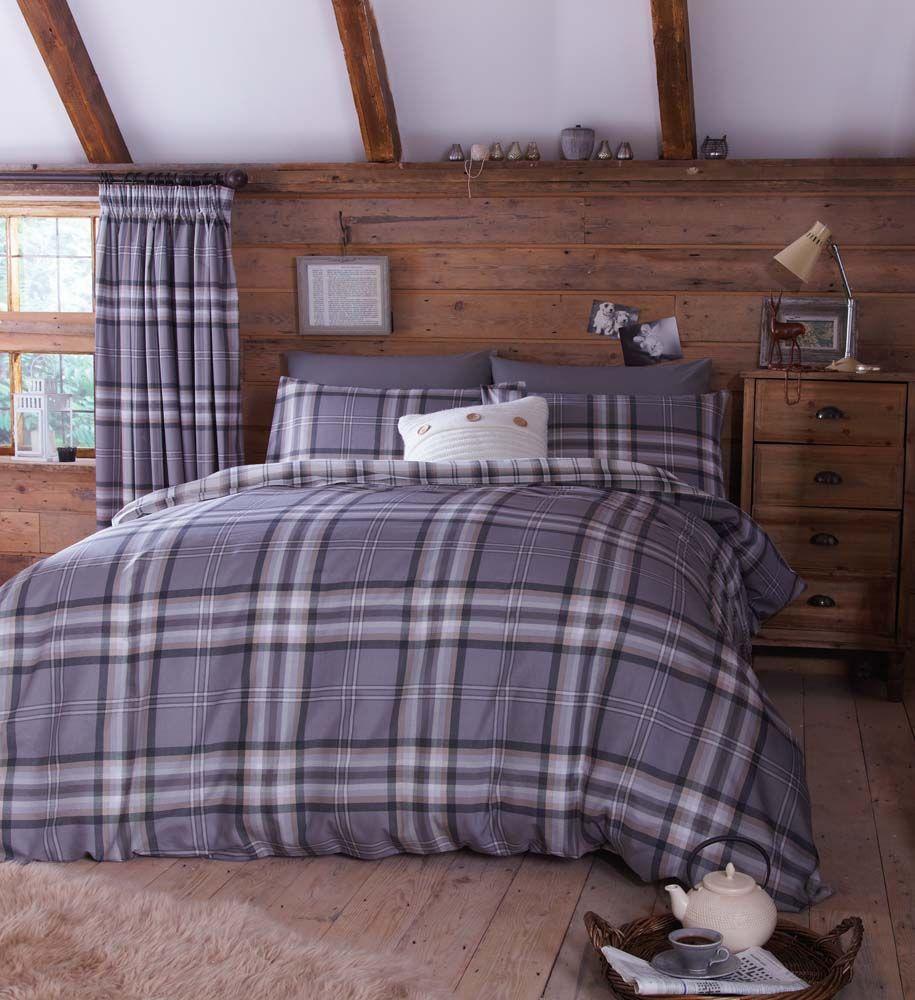 Grey Tartan Bedding Duvet Cover Quilt Or Matching Curtains