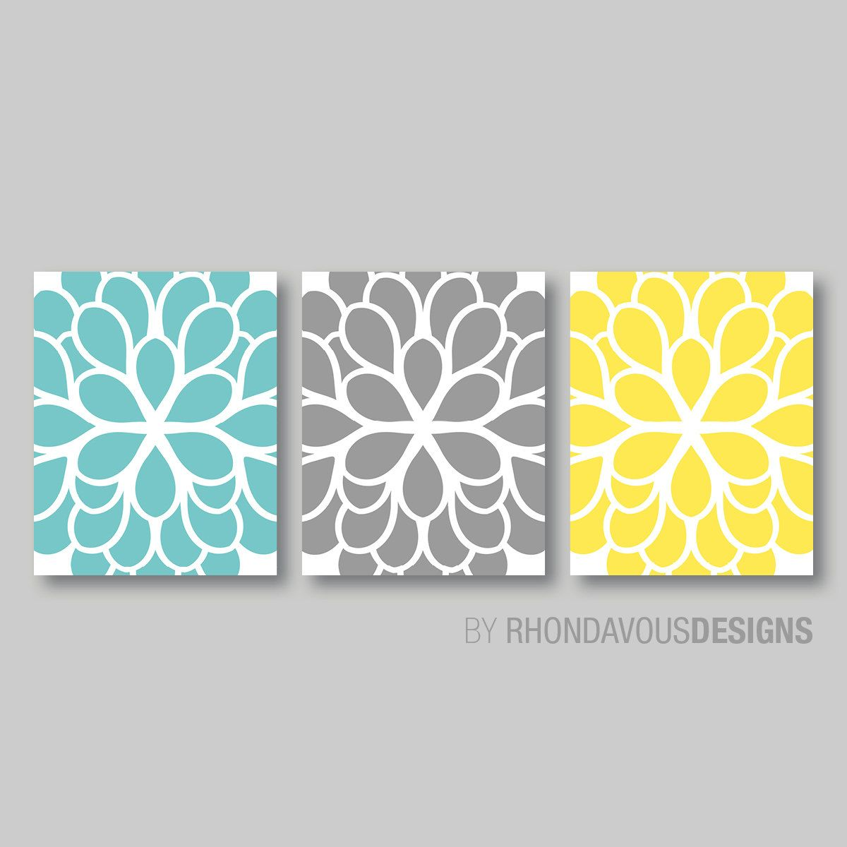 Teal Blue Yellow Gray Dahlia Flower Print By Rhondavousdesigns2 20 00