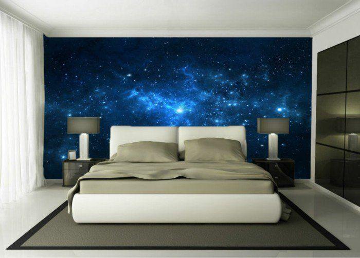 schlafzimmer mit super schönen fototapeten blaue farbe ...