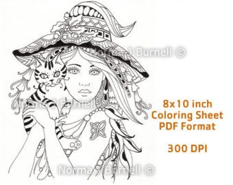 Miss Witch - Printable Fairy Tangles Coloring Book Pages Coloring ...