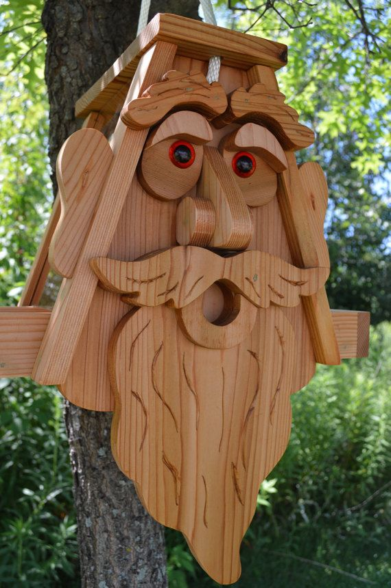 Large Ent Cedar Bird Feeder with Plexiglass and Rope, King ...Old Man Face Bird Houses