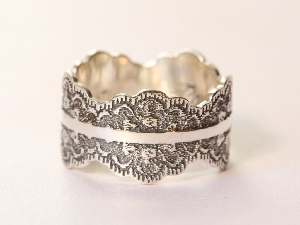 Unique Oxidized Silver Wedding Band With Lace Texture Wide Ring