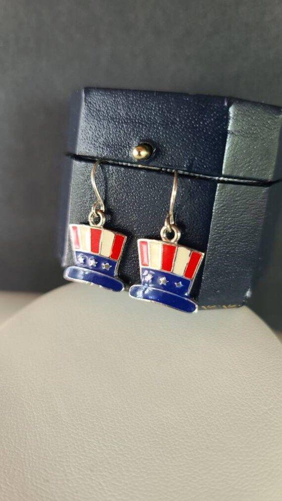 American Enamel Hat Dangling Earrings