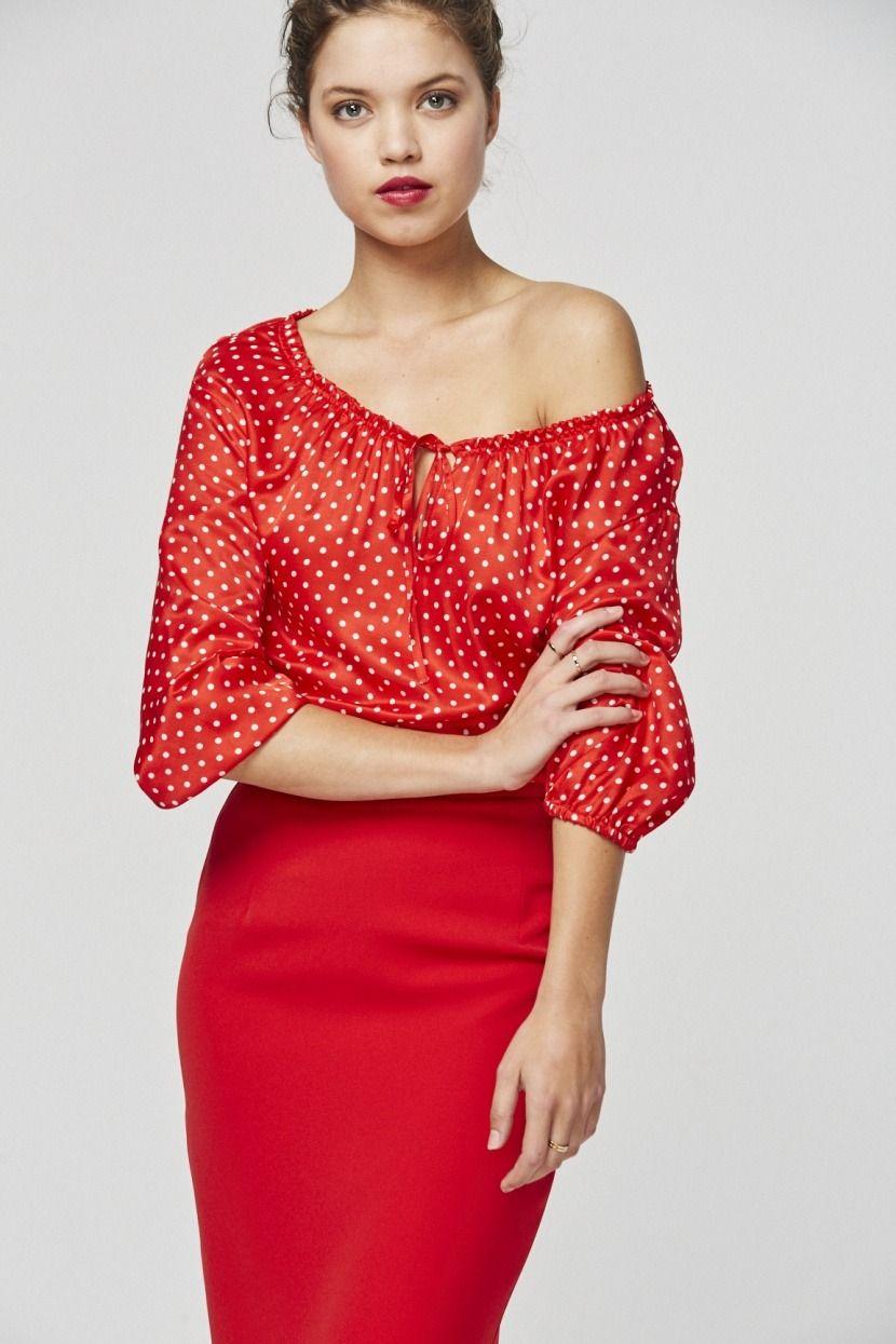 Blusa fluida. Modelo DOTY Rojo Etxart&Panno Tienda Online Oficial.