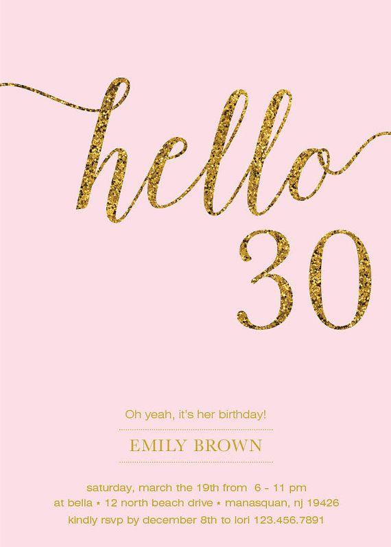 30th Birthday Invitation Modern Gold Foil Hello 30 by ...