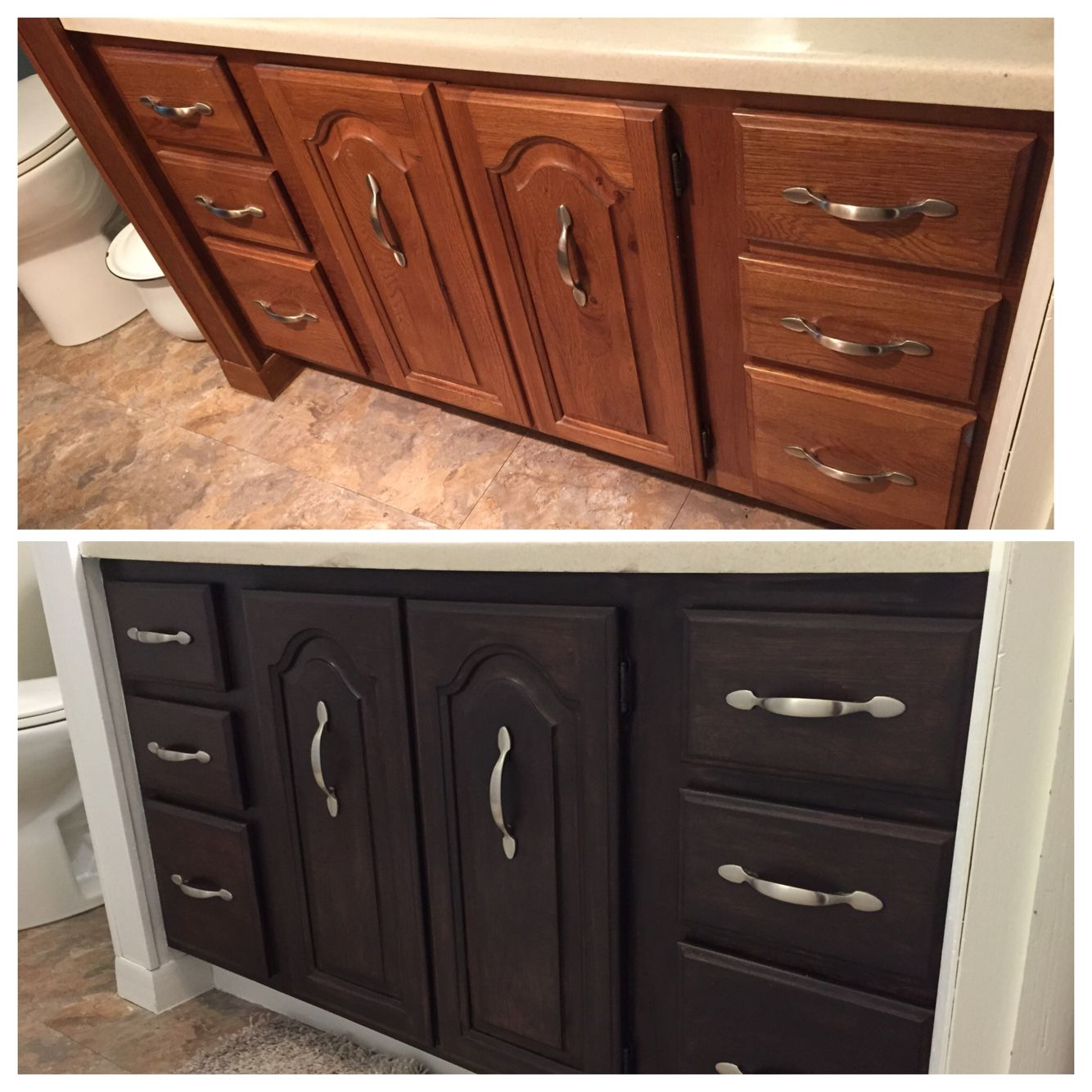 Updated An Oak Builders Grade Vanity With Rustoleum Kona Stain And Polyurethane Stripped Off Original