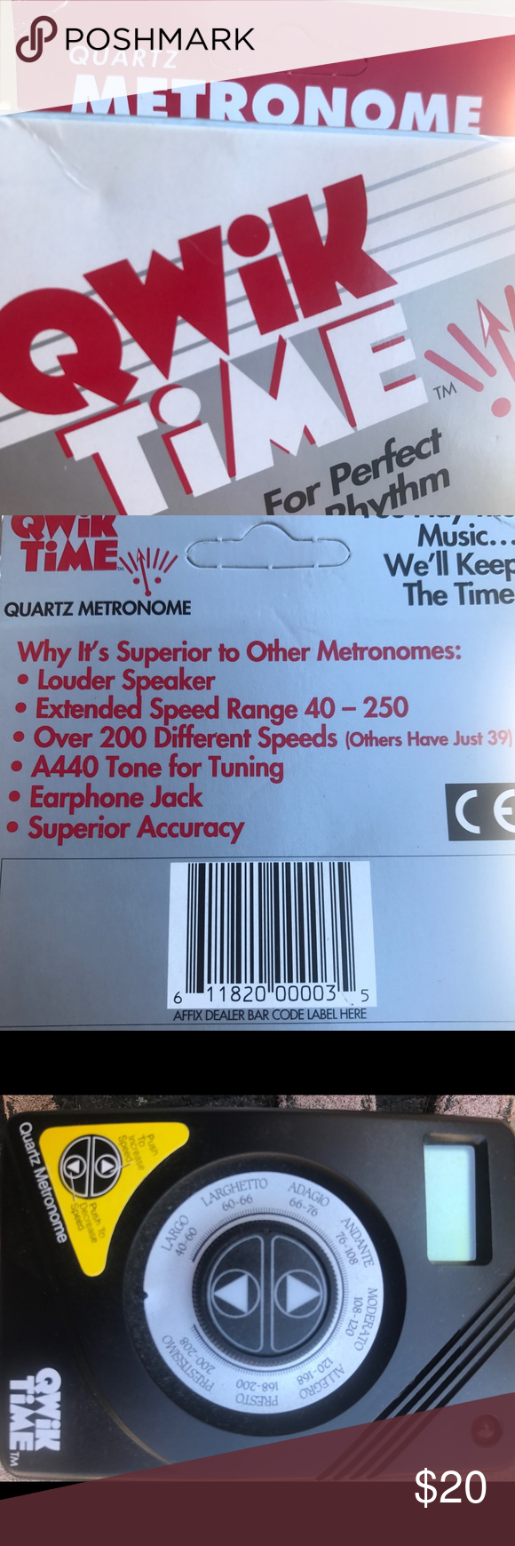NIB Quartz metronome qwik time for musicians music Quartz