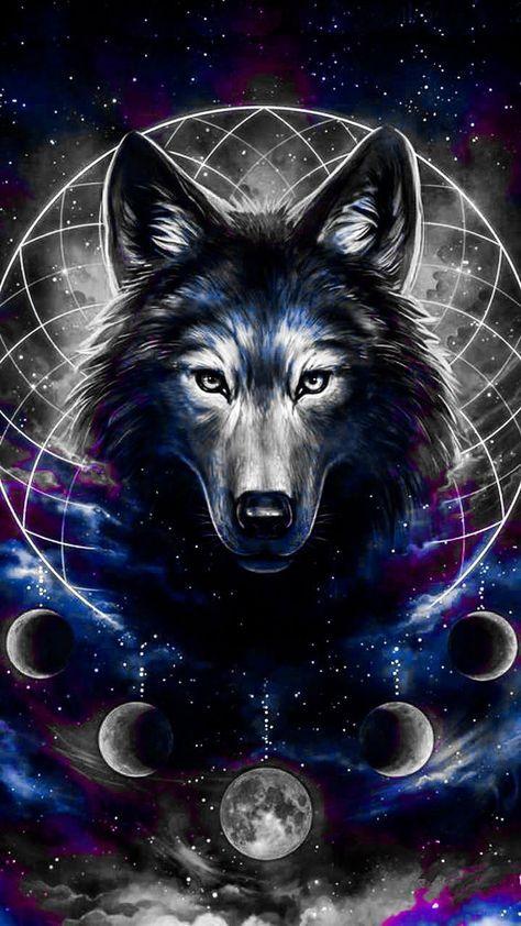 Pin On Grafiet Tekeningen Beautiful wallpaper galaxy wolf