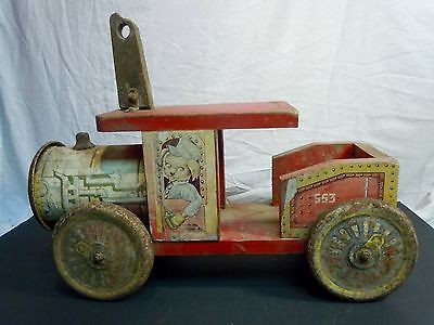Vintage 1950's Cannonball Express Ride On Toy Train/Car Wood/Tin RARE