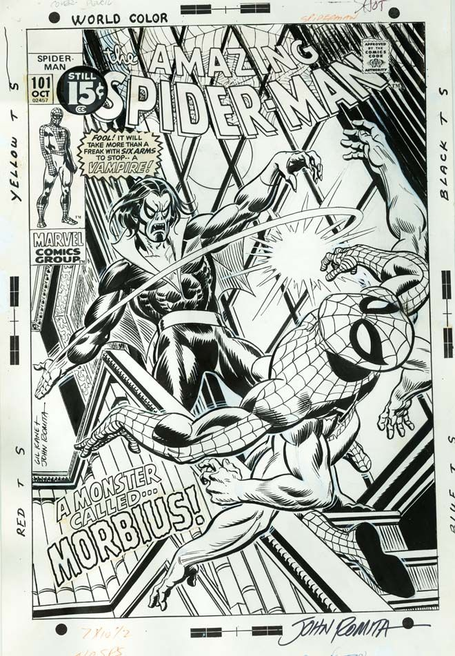 Themarvelageofcomics Cover From Amazing Spider Man 101 By Gil Kane And John Romita Marvel Coloring Comics Artwork Black And White Comics