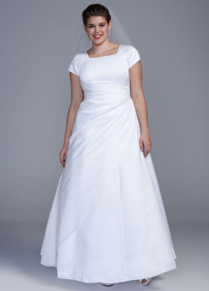3e64d400d515 Extra Length Short Sleeve Satin A-line Plus Size Wedding Dress - Ivory, 14W